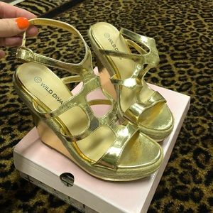 Wild Diva Gold Wedge Heels